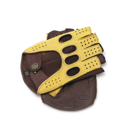 Men's gloves - FINGERLESS - deerskin leather - GOLD-BROWN