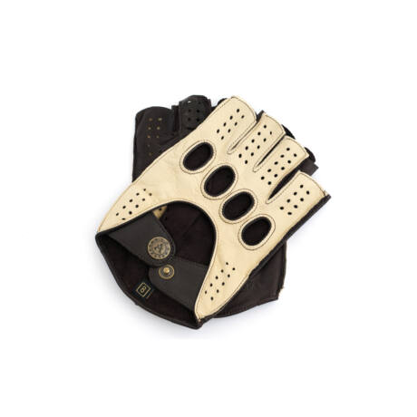 Men's hairsheep leather fingerless gloves BEIGE-BROWN