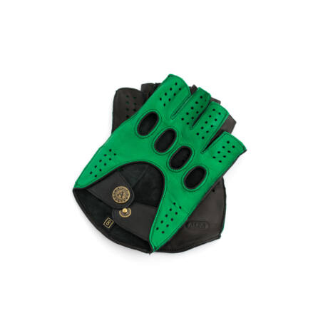 Men's hairsheep leather fingerless gloves GREEN-BLACK