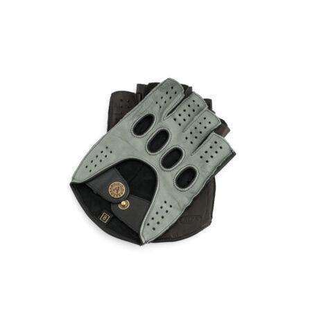 Men's hairsheep leather fingerless gloves GREY-BLACK