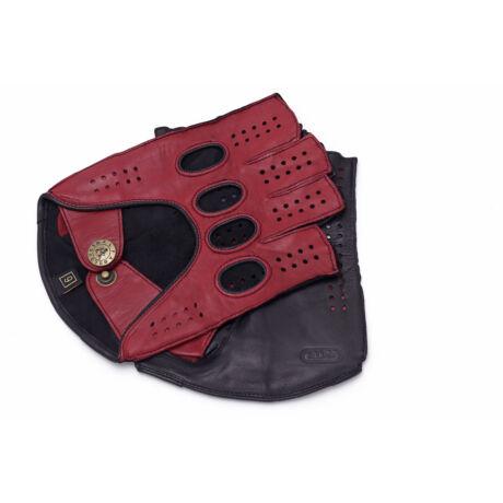 Men's hairsheep leather fingerless gloves RED-BLACK