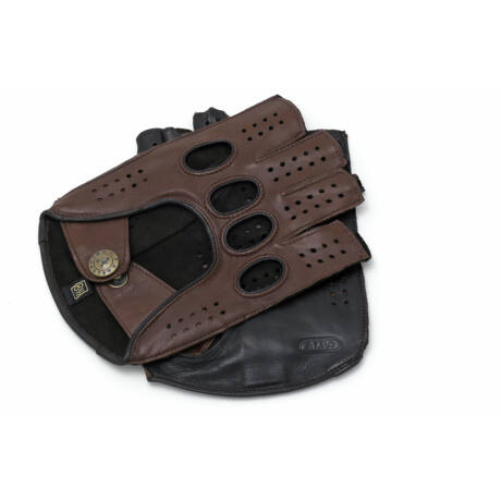 Men's hairsheep leather fingerless gloves WALNUT-BROWN