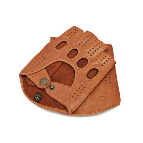 Men's deerskin leather fingerless gloves COGNAK