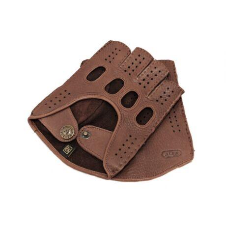 Men's deerskin leather fingerless gloves WALNUT