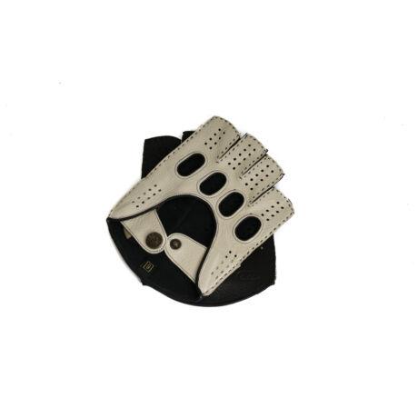 Men's gloves - FINGERLESS - deerskin leather - BONE-BLACK