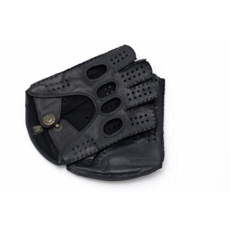 Men's hairsheep leather fingerless gloves BLACK