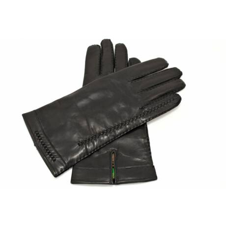 Men's hairsheep leather gloves lined with wool BLACK