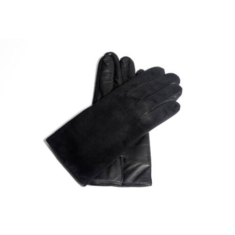 Men's suede-nappa leather gloves lined with wool BLACK