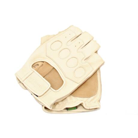 Men's deerskin leather fingerless gloves BONE