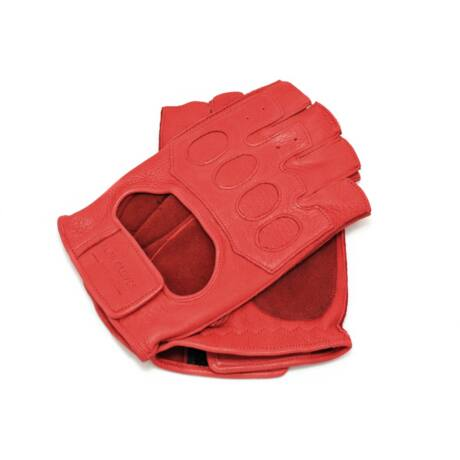 Men's deerskin leather fingerless gloves RED