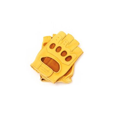 Men's deerskin leather fingerless gloves GOLD