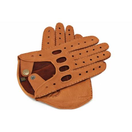 Men's deerskin leather driving gloves COGNAK