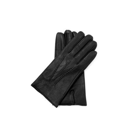Men's deerskin leather gloves lined with wool BLACK