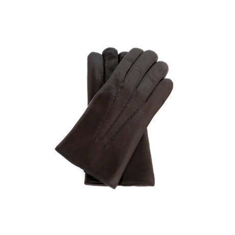 Men's hairsheep leather gloves lined with lamb fur DARK BROWN