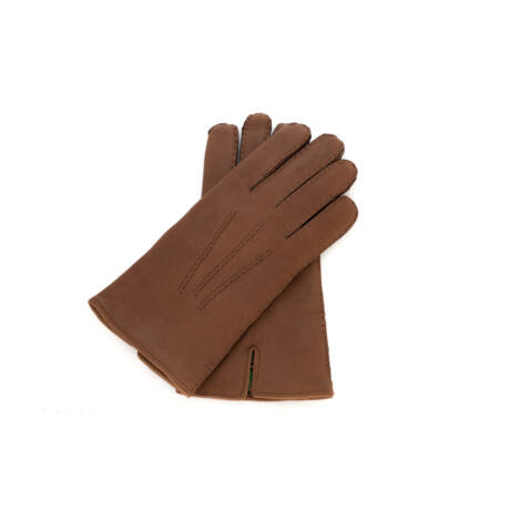 Men's deerskin leather gloves with wool lining WALNUT
