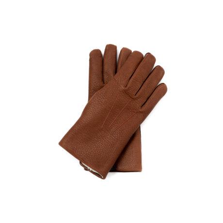 Men's deerskin leather gloves lined with lamb fur WALNUT
