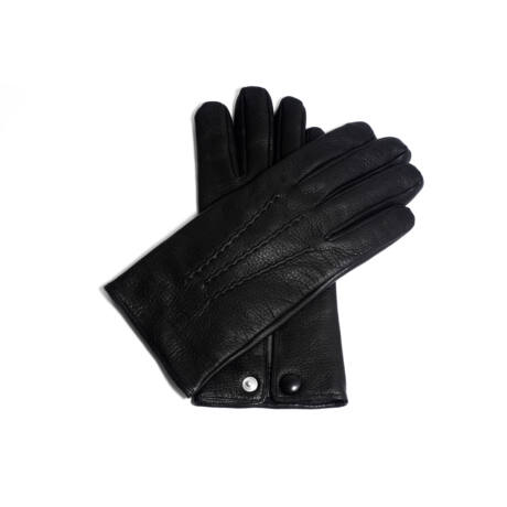 Men's deerskin leather gloves lined with wool BLACK