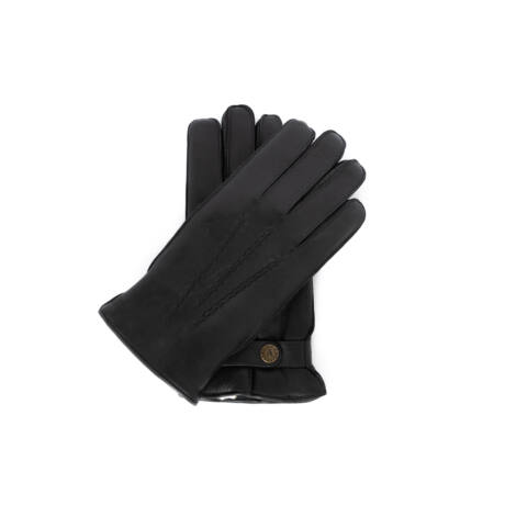 Men's deerskin leather gloves lined with lamb fur BLACK