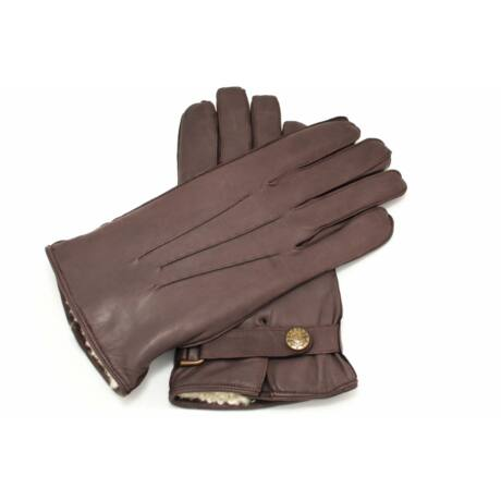 Men's hairsheep leather gloves lined with lamb fur BROWN