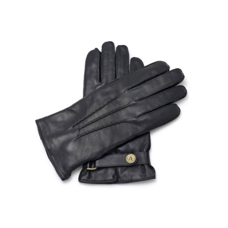 Men's hairsheep leather gloves lined with lamb fur BLACK