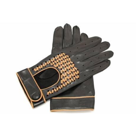 Men's Hairsheep Leather Driving Gloves BLACK(CAMEL)