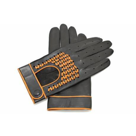 Men's Hairsheep Leather Driving Gloves BLACK(NAVAHO)
