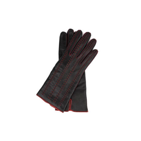 Women's hairsheep leather gloves lined with wool BLACK(RED)