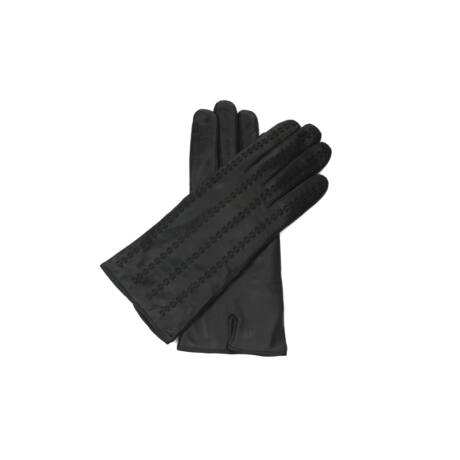 Women's hairsheep leather gloves lined with wool BLACK