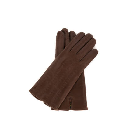 Women's hairsheep leather gloves lined with wool BROWN