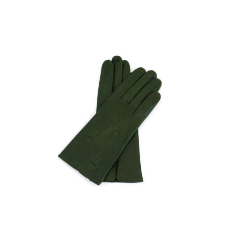 Women's silk lined leather gloves GREEN