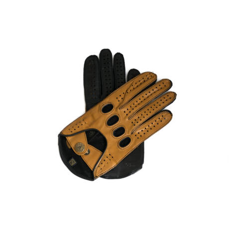 Women's hairsheep leather driving gloves COGNAK-BLACK