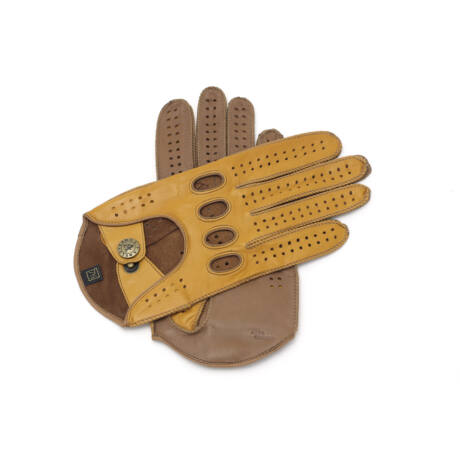 Women's hairsheep leather driving gloves GOLD-ALMOND