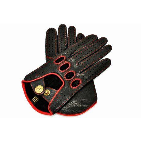 Women's deerskin leather driving gloves BLACK(RED)