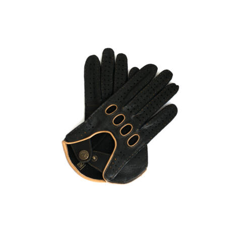 Women's deerskin leather driving gloves BLACK(BROWN)