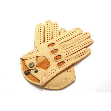 Women's deerskin leather driving gloves GOLD