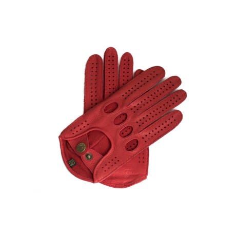 Women's deerskin leather driving gloves RED