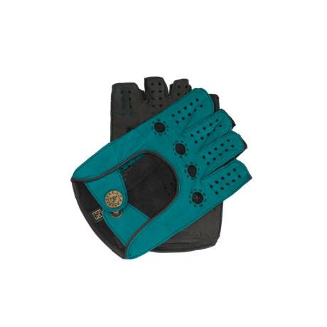 Women's hairsheep leather fingerless gloves AZURE-BLACK
