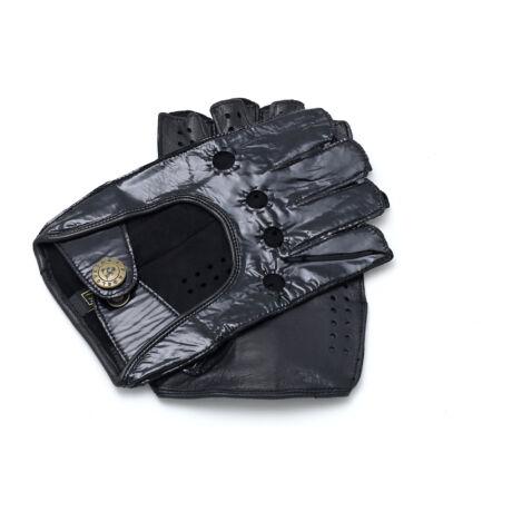 Women's hairsheep leather fingerless gloves BLACK(LAK)