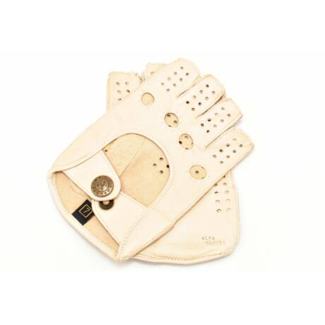 Women's hairsheep leather fingerless gloves BONE