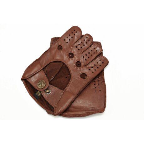 Women's hairsheep leather fingerless gloves BROWN