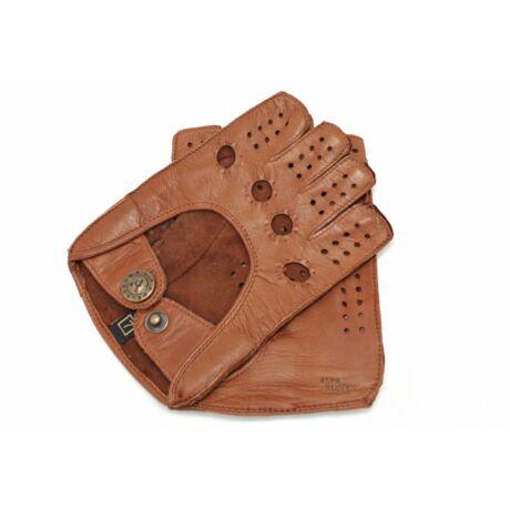 Women's hairsheep leather fingerless gloves COGNAK