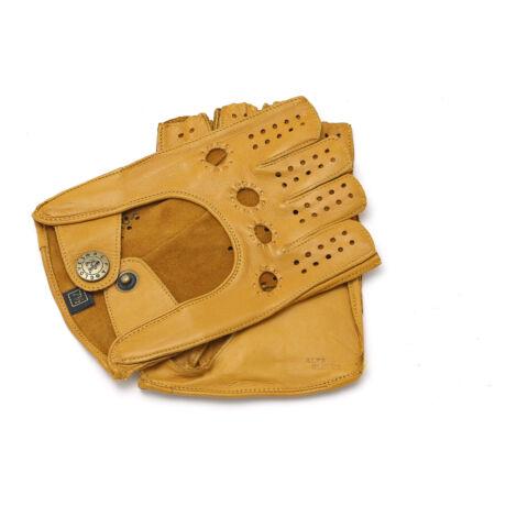 Women's hairsheep leather fingerless gloves CONKER