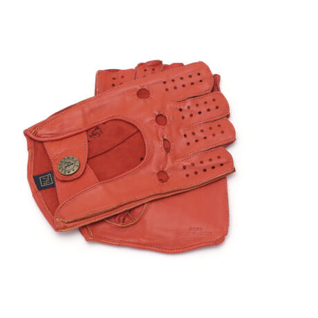 Women's hairsheep leather fingerless gloves CORAL