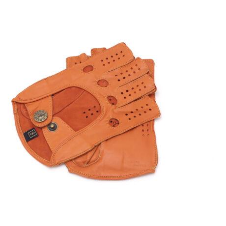 Women's hairsheep leather fingerless gloves ORANGE