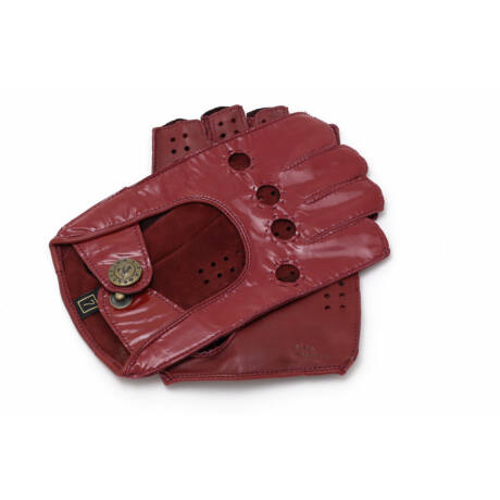 Women's hairsheep leather fingerless gloves RED(LAK)