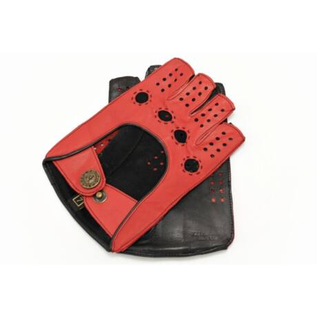 Women's hairsheep leather fingerless gloves RED-BLACK