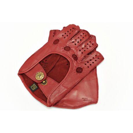Women's hairsheep leather fingerless gloves RED