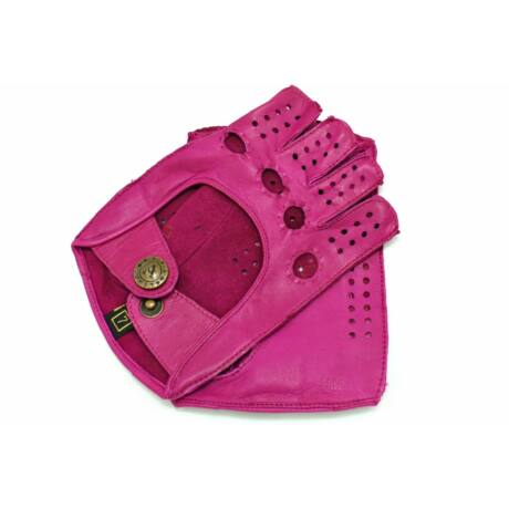 Women's hairsheep leather fingerless gloves ROSE