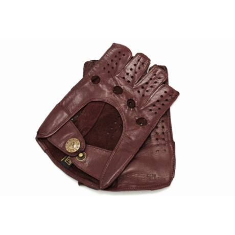 Women's hairsheep leather fingerless gloves WINE