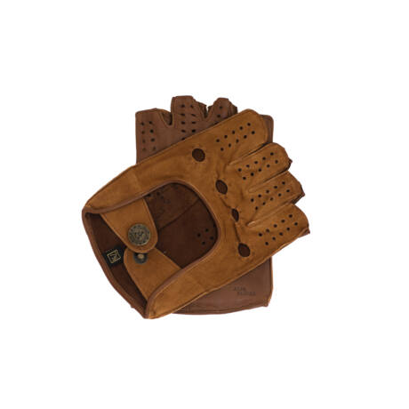 Women's fingerless gloves COGNAK